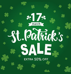 Saint patricks day sale typography banner vector