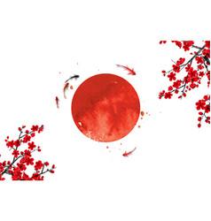 Sakura flowers little koi carp fishes and big red vector