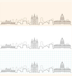 Salt lake city hand drawn skyline vector
