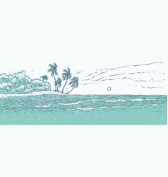 sandy tropical island with palm trees sea waves vector image