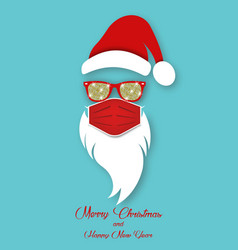 santa claus wearing surgical mask and red glasses vector image