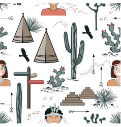 Seamless pattern with kids in native indian vector