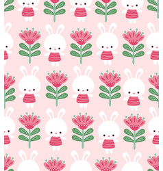 Seamless with cute bunnies and vector