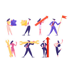 set businesspeople holding different business vector image