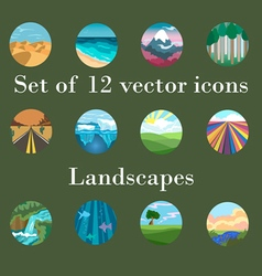 Set of icons landscapes vector