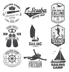 set sailing camp yacht club and diving club vector image
