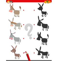 shadow game with cute donkey characters vector image