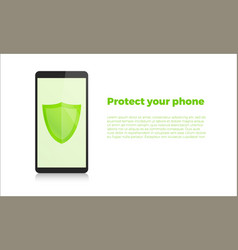 smartphone with security shield mobile security vector image