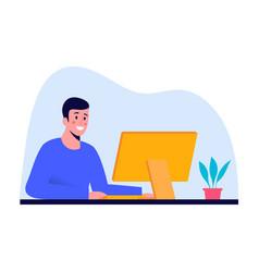 smiling man working at computer at office or at vector image