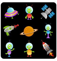 space elements set vector image