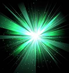 Star with rays white green in space isolated and vector