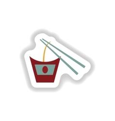 Stylish paper sticker on white Thai noodles vector