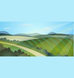 Sunny summer landscape green fields harvest hills vector