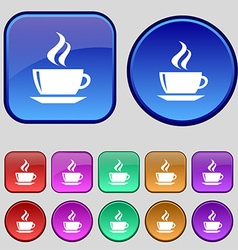 Tea coffee icon sign A set of twelve vintage vector