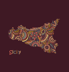 Textured map sicily hand drawn ethno vector