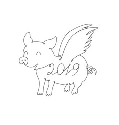 the symbol of the year drawn by one line vector image