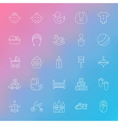 Toys and baby line icons set over blurred vector