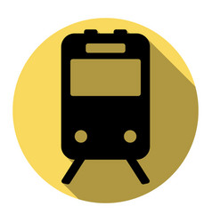 train sign flat black icon with flat vector image