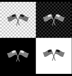two crossed american waving flags icon isolated vector image