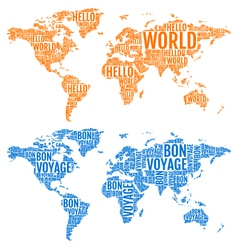 typographic world maps vector image
