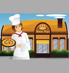 Waitress holding pizza vector