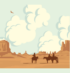 western landscape with cloudy sky and cowboys vector image