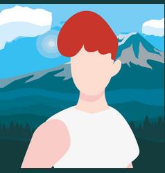 woman character landscape vector image