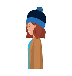young woman with winter clothes avatar character vector image