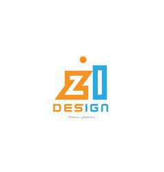zl z l orange blue alphabet letter logo vector image