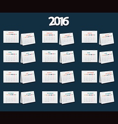 calendar 2016 new year template design vector image