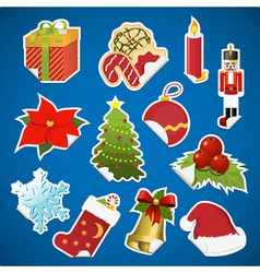 collection of christmas stickers with corner vector image
