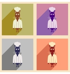 Concept flat icons with long shadow mouse chef vector