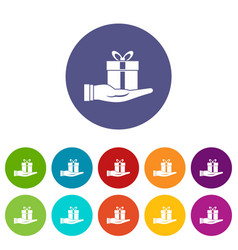 gift box in hand set icons vector image vector image