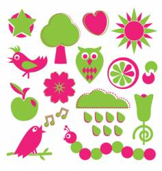 pink and green nature elements vector image vector image