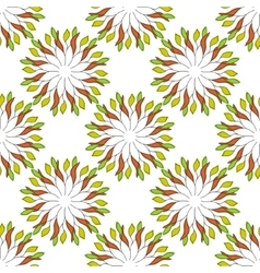 Seamless pattern of colored leaves on an orange vector image