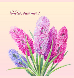watercolor bouquet of hyacinths vector image vector image