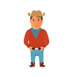 Cartoon cowboy character on white background vector image
