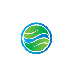 circle leaf business eco logo vector image vector image