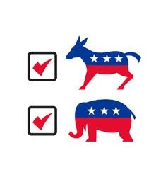Republican Elephant Democrat Donkey Election vector image vector image