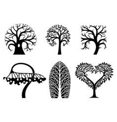 set of art tree symbols vector image vector image