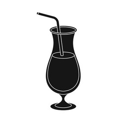 a cocktail in a glass with a straw drink for vector image