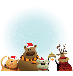 christmas card with animals vector image