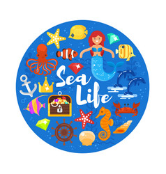 composition with sea life icons vector image vector image