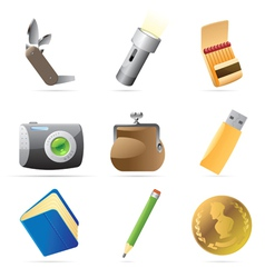 Icons for personal belongings vector image vector image