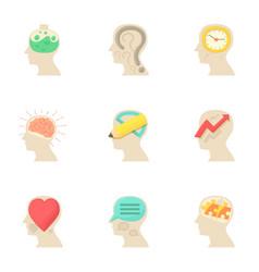 Imagination in head icons set cartoon style vector