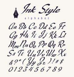 ink style alphabet retro script letters vector image