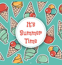 it is summer time seamless pattern with icecreams vector image