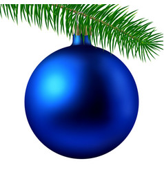 realistic blue matte christmas ball or bauble with vector image vector image