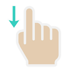 swipe down flat icon touch and hand gestures vector image vector image