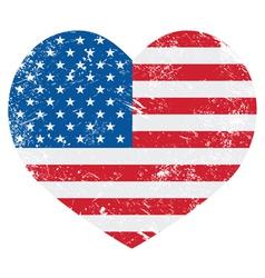 United States on America retro heart flag - vector image